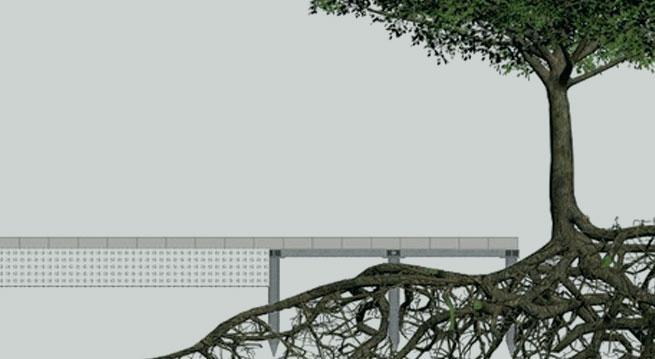 Schematische Darstellung der Wurzelbrücke ArborGird