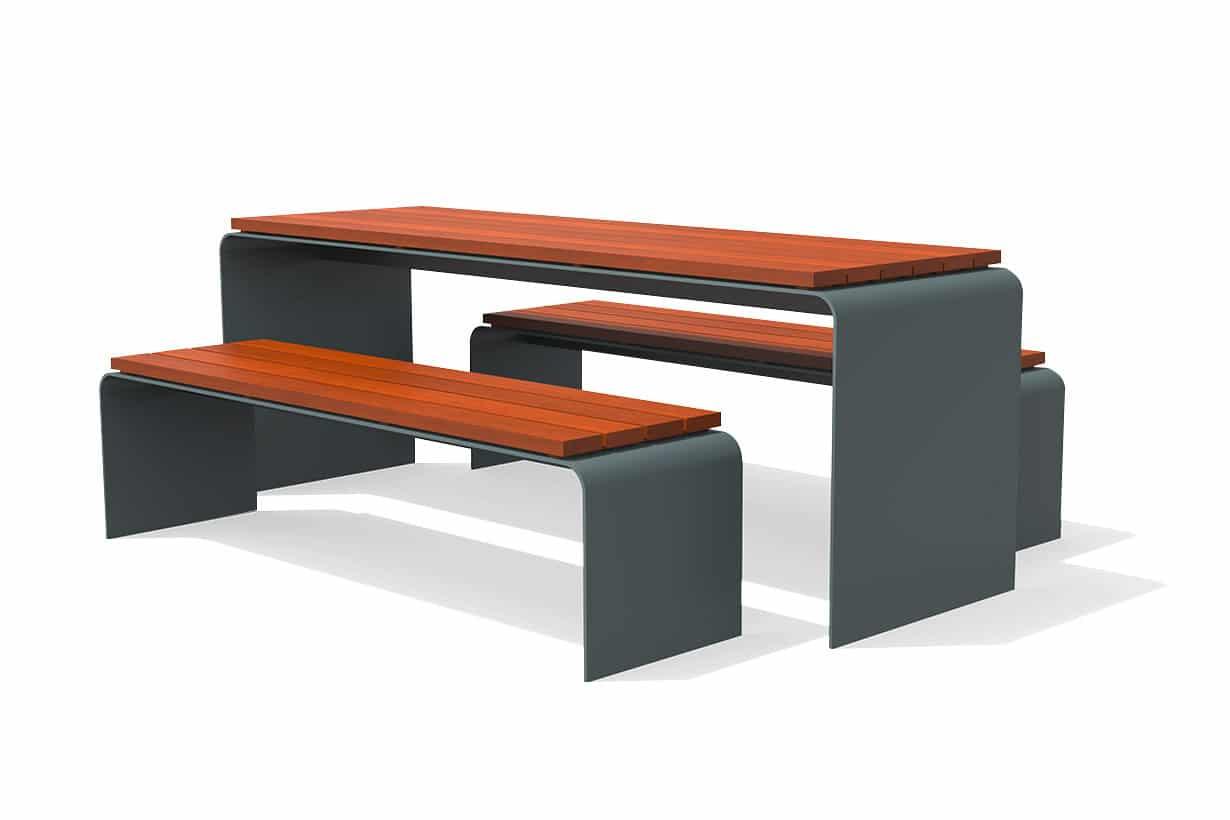 UrbanObjekts Arc Bänke und Tisch
