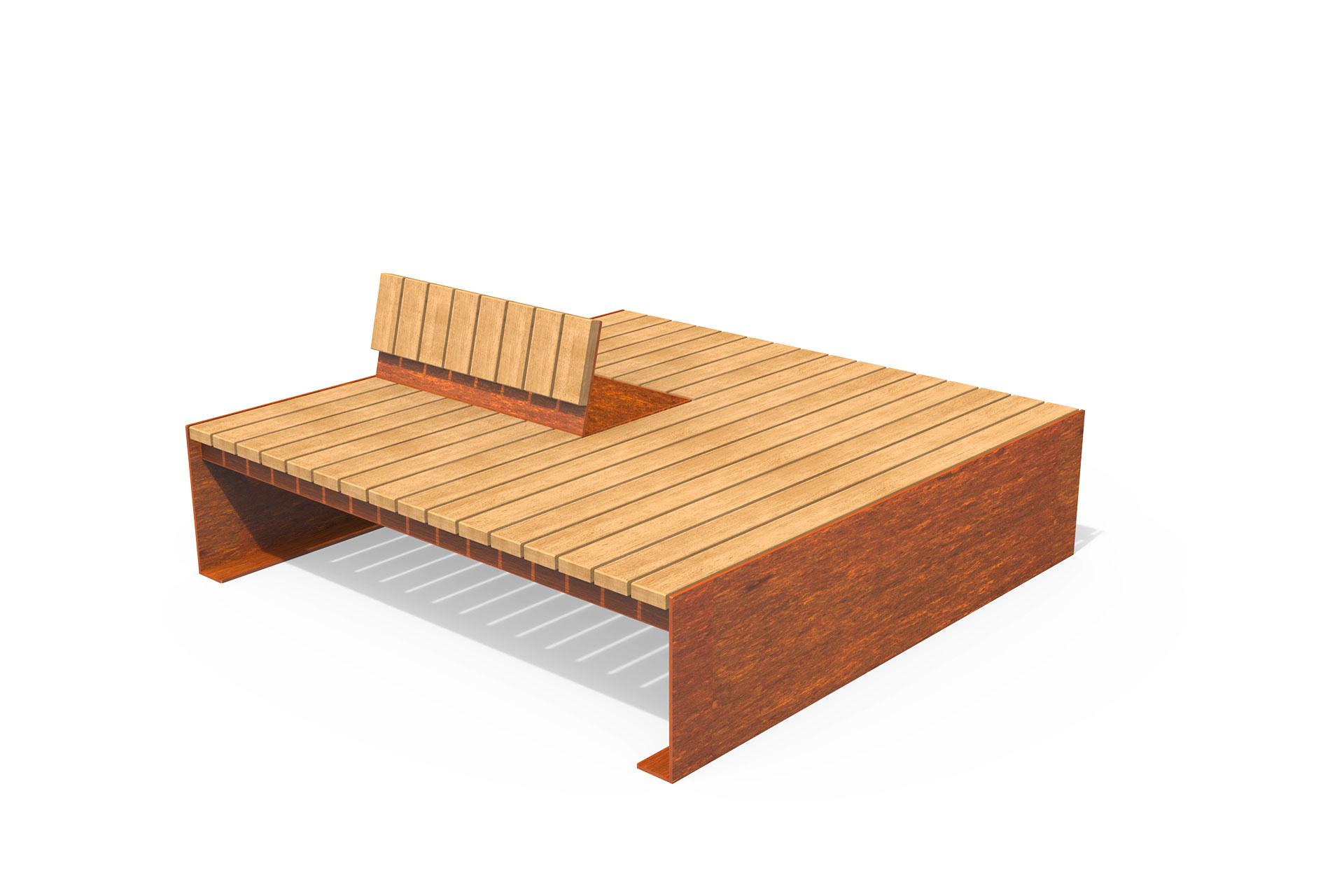 UrbanObjekts Corten Holzdeck mit Rückenstütze