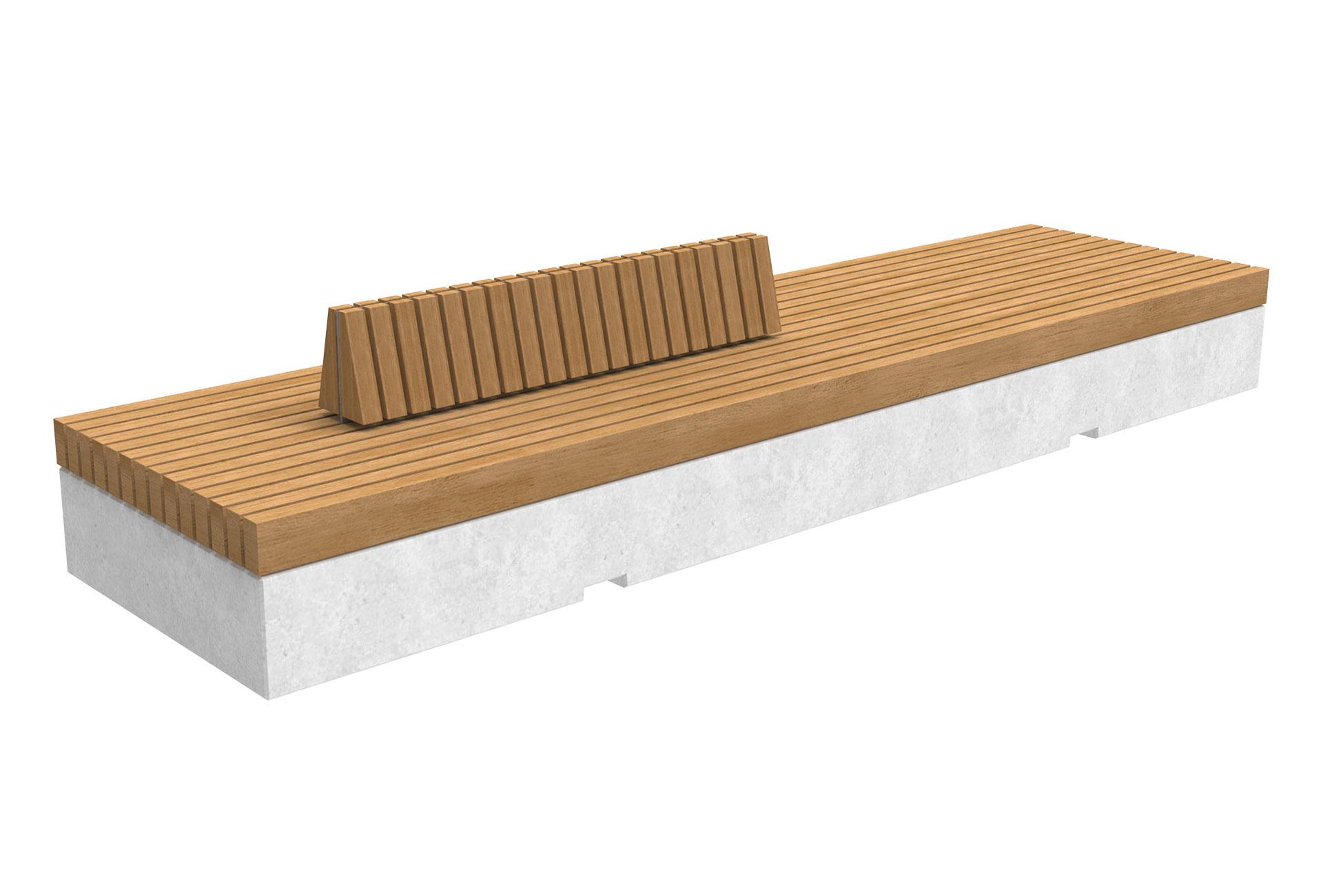 UrbanObjekts Trave Sitzgelegeneheiten Beton mit doppelter Rückenstütze
