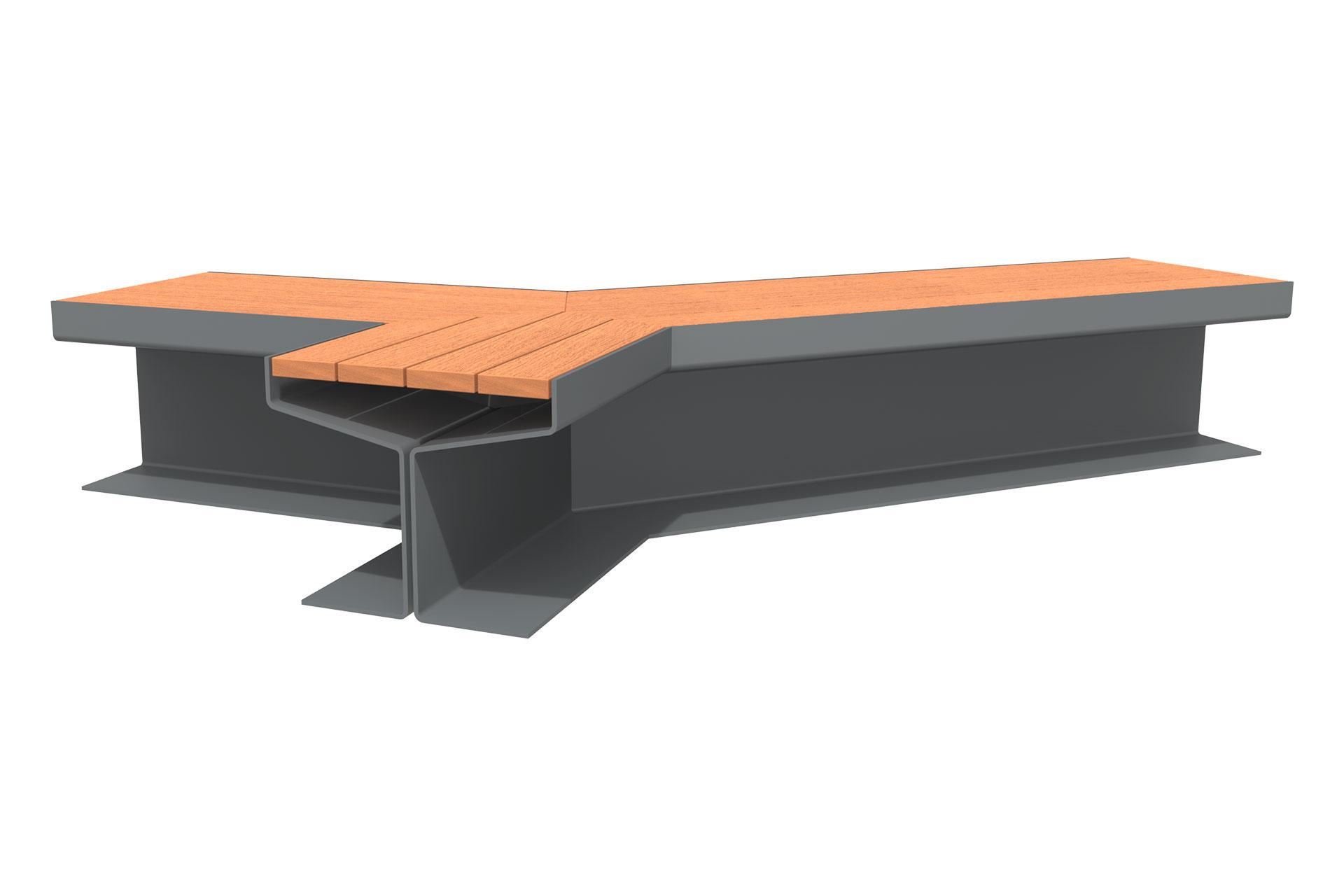 UrbanObjekts Y Sitzgelegenheit Verzweigt Holz Bodenplatte